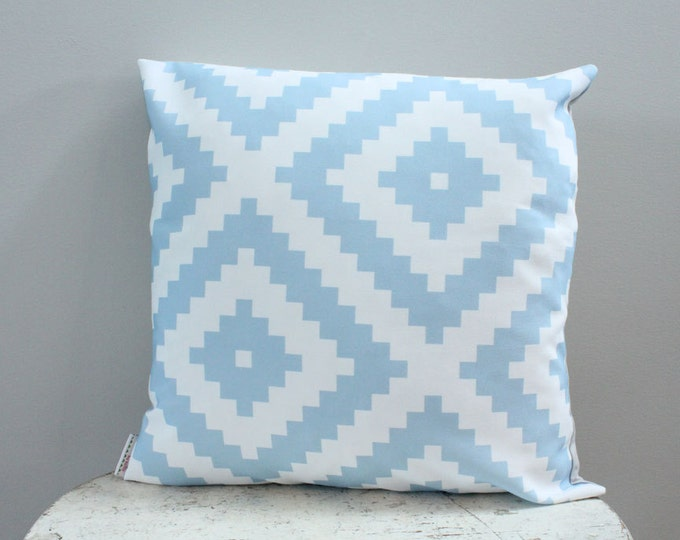 SALE Pillow cover blue aztec 18 inch 18x18 modern hipster accessory home decor nursery baby gift present zipper closure canvas ready to ship