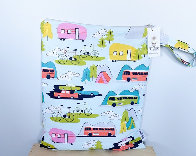 The ICKY Bag XL - wetbag - PETUNIAS by Kelly -  retro camping