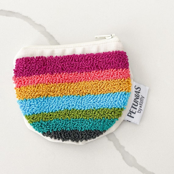 PETUNIAS by Kelly punch needle Zipper pouch