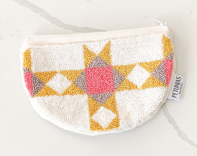 Zipper pouch - punch needle - clutch - PETUNIAS by Kelly
