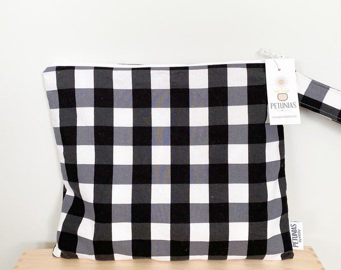 The ICKY Bag - wetbag - PETUNIAS by Kelly - black and white Buffalo check