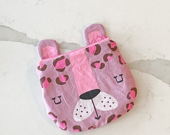 The ICKY Bag mini wetbag - animal zipper pouch - snack bag - PETUNIAS by Kelly - mauve leopard