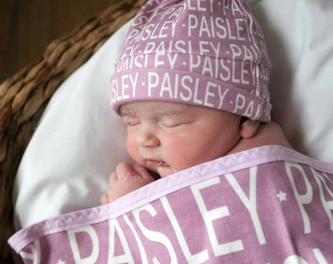 Personalized baby blanket and hat set organic knit swaddle – PETUNIAS name baby blanket shower gift birth announcement photo prop newborn