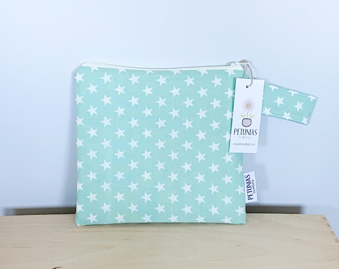 The ICKY Bag petite - wetbag - PETUNIAS by Kelly - mint star