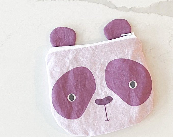 The ICKY Bag mini wetbag - animal zipper pouch - snack bag - PETUNIAS by Kelly - purple panda