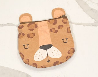 The ICKY Bag - mini wetbag zipper pouch - PETUNIAS by Kelly - caramel leopard