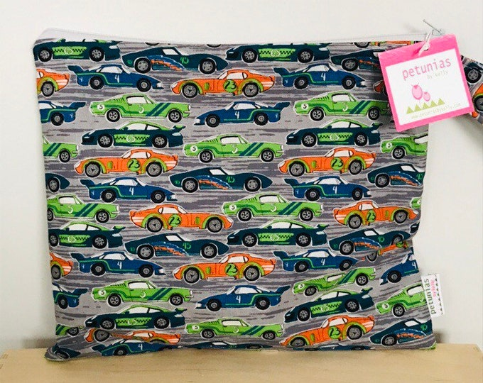 The ICKY Bag - wetbag - PETUNIAS by Kelly - race cars