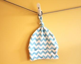 SALE baby hat blue chevron geometric hipster Organic knot modern newborn shower gift photography prop hospital accessory neutral girl boy