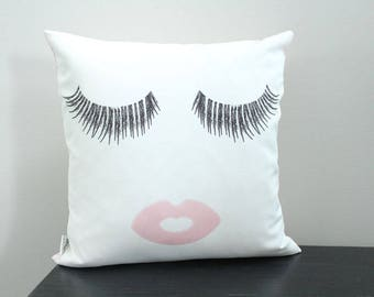 Eyelashes and lips Pillow cover 18 inch 18x18 modern hipster accessory home decor nursery baby gift present zipper canvas ready to ship