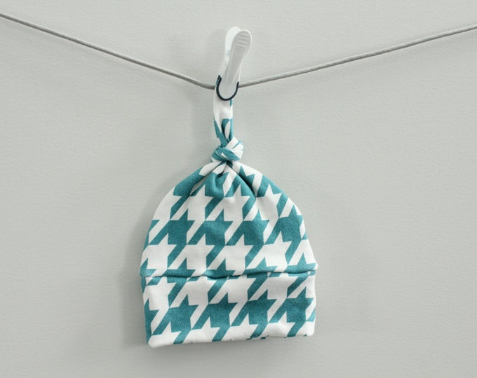 baby hat houndstooth teal Organic knot modern newborn shower gift photography prop hospital outfit accessory neutral girl boy