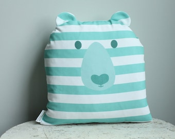 Bear Pillow cover 14 inch 14x14 modern hipster accessory home decor nursery baby gift present zipper closure canvas ready to ship