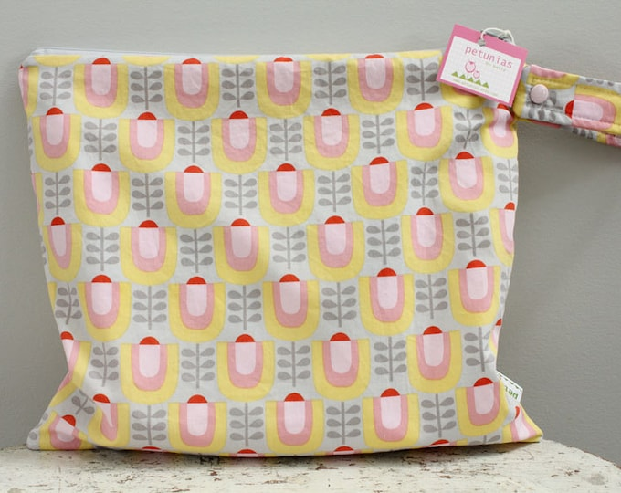 The ICKY Bag - wetbag - PETUNIAS by Kelly - grey retro floral