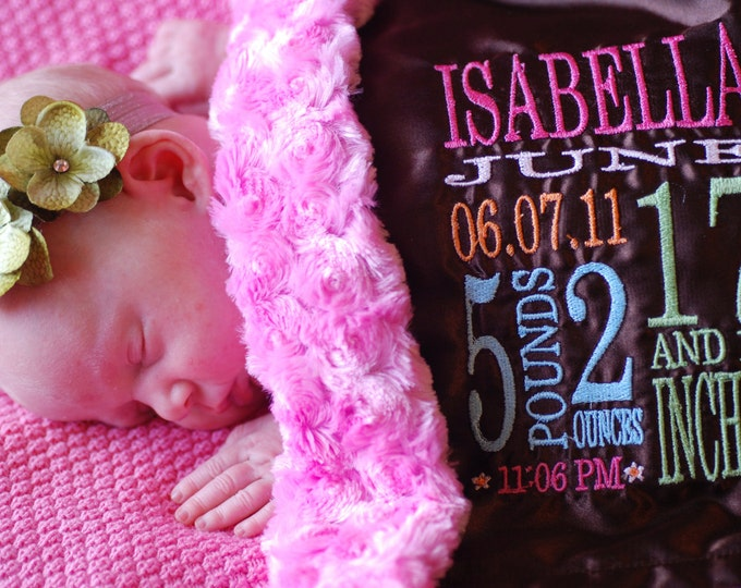 Personalized Birth Stats Little Fluffy Blanket - minky faux fur satin name embroidery newborn gift photo prop  lovie lovey monogram