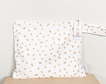 The ICKY Bag - wetbag - PETUNIAS by Kelly - metallic gold dots