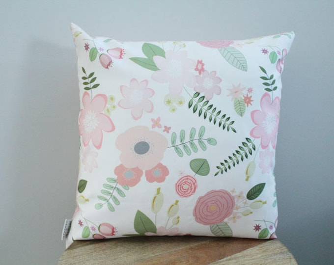 SALE Pillow cover coral flower floral 18 inch 18x18 modern hipster accessory home decor nursery baby gift present zipper canvas