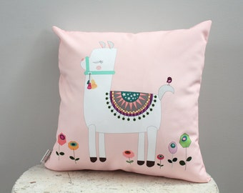 Pillow cover alpaca llama 18 inch 18x18 modern hipster accessory home decor nursery baby gift present zipper closure canvas ready to ship