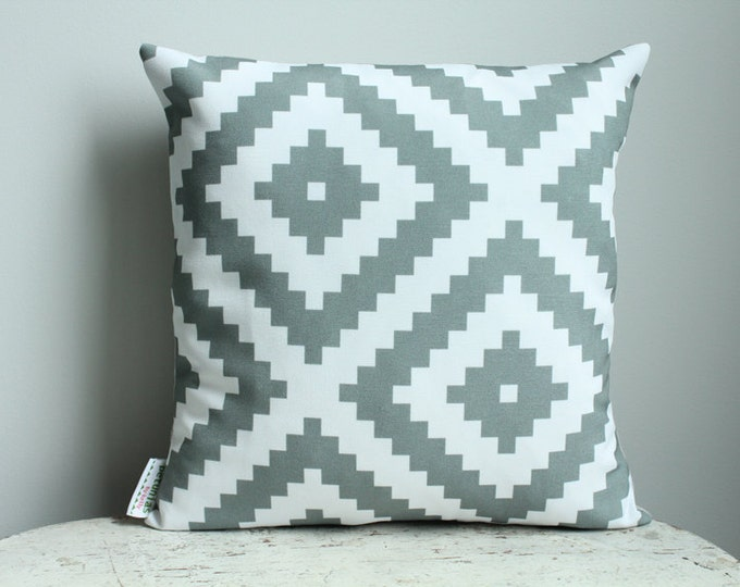 SALE Pillow cover grey aztec 14 inch 14x14 modern hipster accessory home decor nursery baby gift present zipper closure canvas ready to ship
