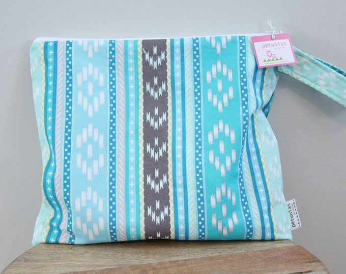 The ICKY Bag - wetbag - PETUNIAS by Kelly - blue tribal stripe