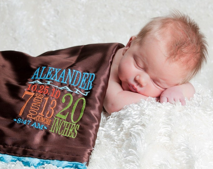 Little Fluffy Blanket - minky satin birth stats personalized embroidery newborn gift photo prop baby blanket lovie lovey monogram