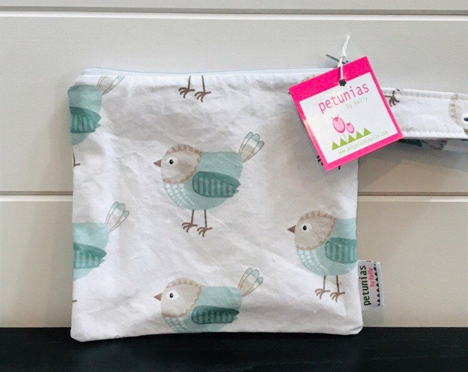 The ICKY Bag petite - wetbag - PETUNIAS by Kelly - teal birds