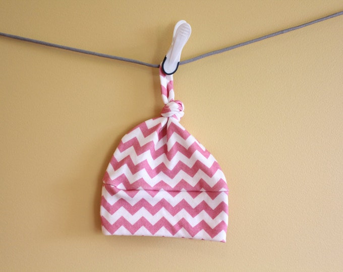 baby hat pink chevron geometric hipster Organic knot modern newborn shower gift photography prop hospital accessory neutral girl boy