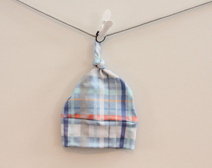 Baby Hat plaid Organic knot PETUNIAS hipster modern newborn baby shower gift photography prop hospital outfit accessory neutral girl boy