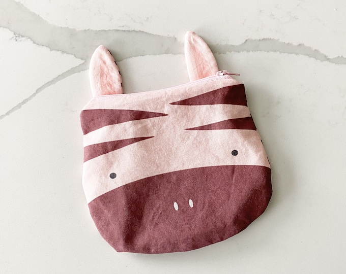 The ICKY Bag mini wetbag - animal zipper pouch - snack bag - PETUNIAS by Kelly - blush zebra