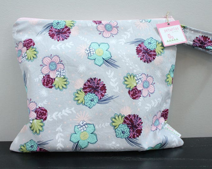 The ICKY Bag - wetbag - PETUNIAS by Kelly - floral swoosh