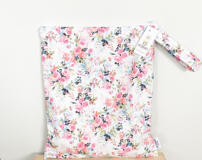 The ICKY Bag XL - wetbag - PETUNIAS by Kelly -  pink prairie floral