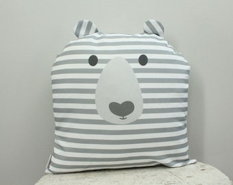 Bear Pillow cover 18 inch 18x18 modern hipster accessory home decor nursery baby gift present zipper closure canvas ready to ship