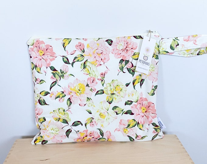 The ICKY Bag - wetbag - PETUNIAS by Kelly - blush vine floral