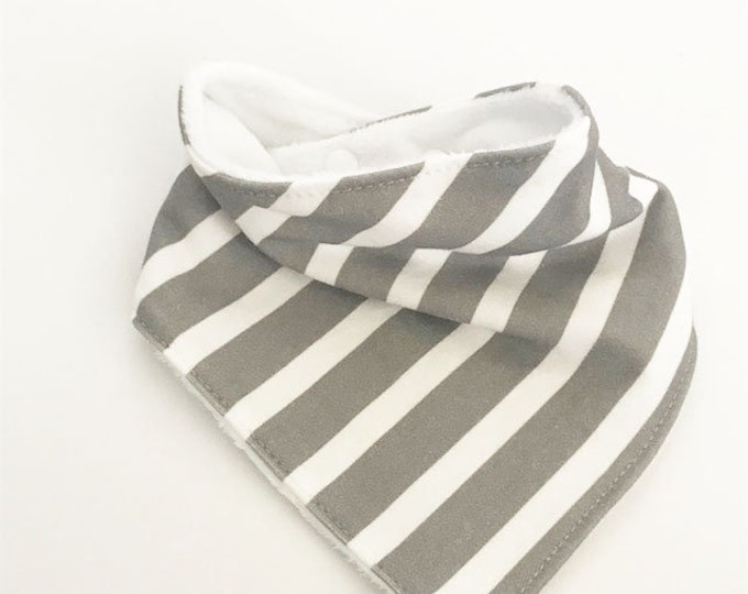 baby bib toddler bandana bandanna bib teething bib drool bib baby shower gift grey white stripe adjustable snap absorbent child bib
