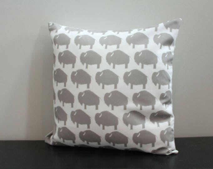 SALE Pillow cover grey white buffalo 18 inch 18x18 modern hipster accessory home decor nursery baby gift present zipper canvas ready to ship