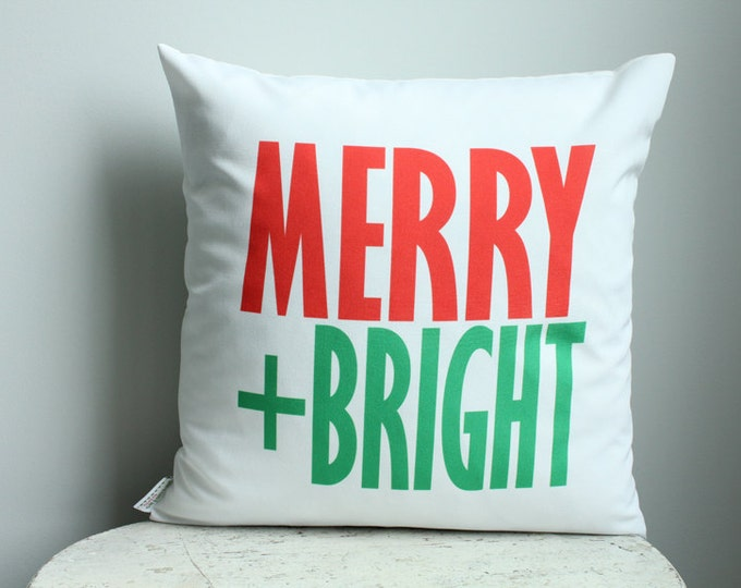SALE Pillow cover Christmas Merry Bright 18 inch 18x18 modern hipster accessory home decor nursery baby gift present zipper canvas ready to
