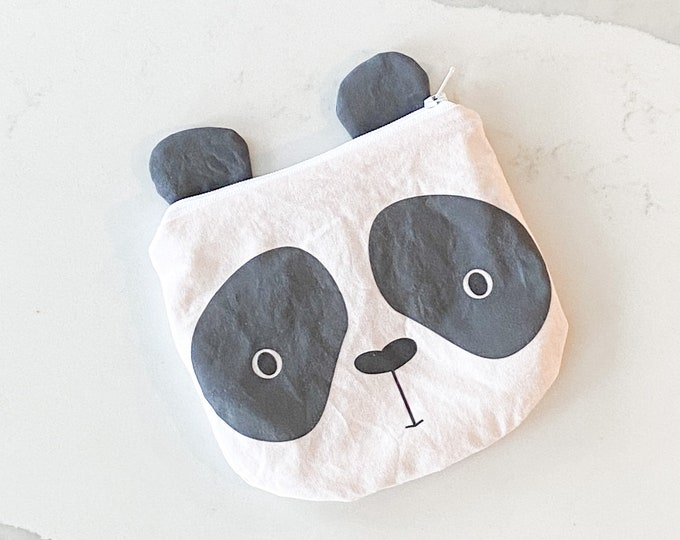 The ICKY Bag mini wetbag - animal zipper pouch - snack bag - PETUNIAS by Kelly - grey panda