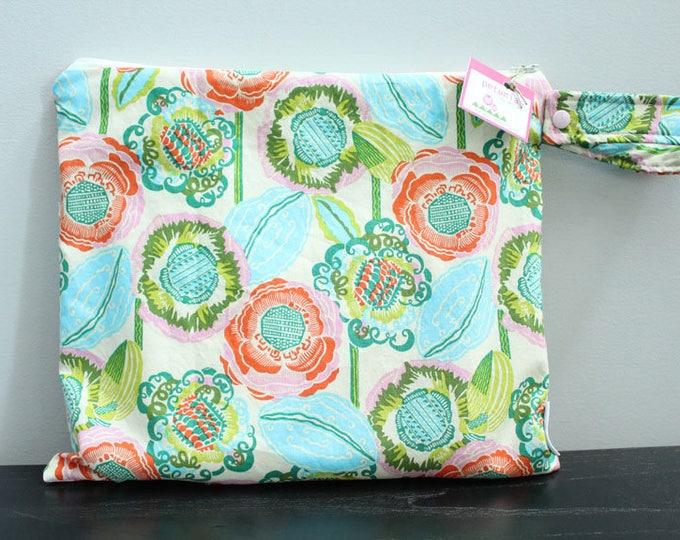 Wet Bag wetbag Diaper Bag ICKY Bag wet proof turquoise floral gym bag swim cloth diaper accessories zipper gift newborn baby kids beach bag