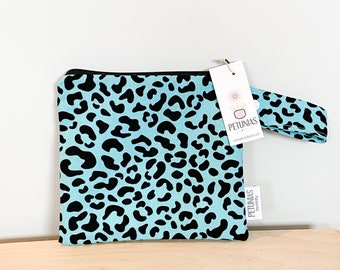 The ICKY Bag petite - wetbag - PETUNIAS by Kelly - teal leopard