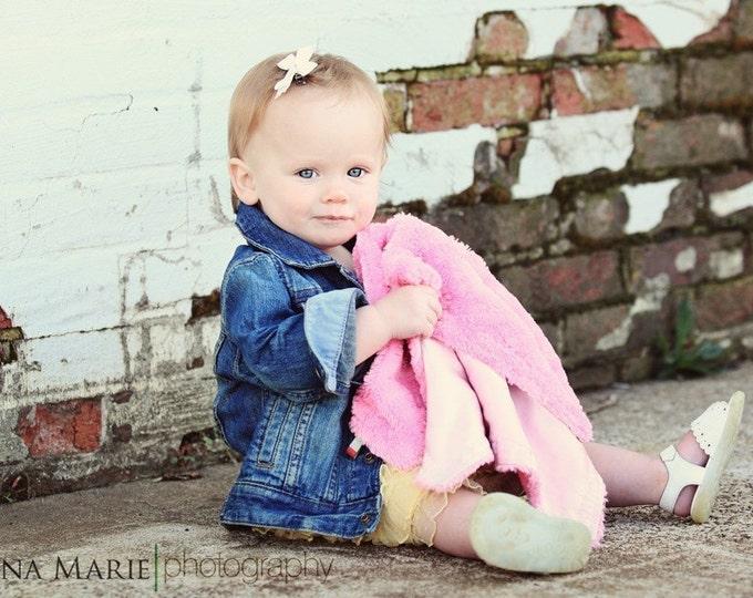 PETUNIAS' Little Fluffy Blanket - minky satin lovie lovey mini baby gift shower newborn photo prop furry soft toddler attachement