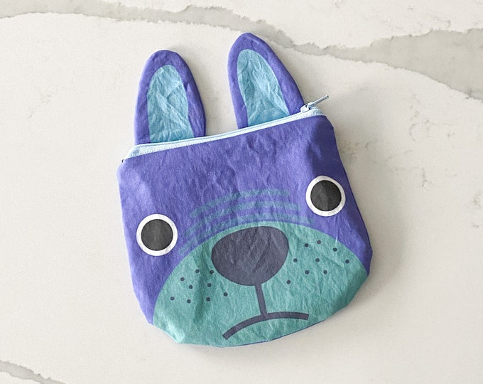 The ICKY Bag mini wetbag - animal zipper pouch - snack bag - PETUNIAS by Kelly - blue pug