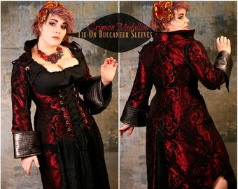 Size XL Crimson Medallion Tie-On Buccaneer SLEEVES
