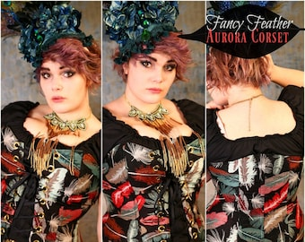 Waist 25-27 Fancy Feather Aurora Corset