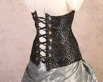 Waist 28-30 Silver and Black Scroll Medallion Torian Corset