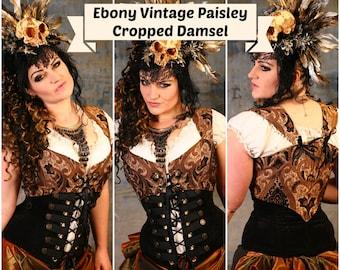 Bust 53-55 Ebony Vintage Paisley Cropped Damsel