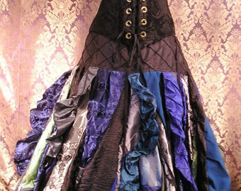 CUSTOM Vertical Ruffle Full Length Patchwork Skirt