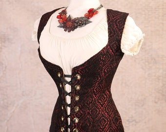 Waist 37 to 39 - Red & Black Scroll Medallion Damsel Corset