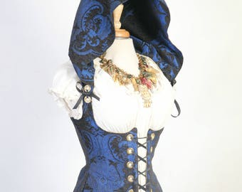 Waist 43 to 45 Blue & Black Medallion Hooded Vixen Corset