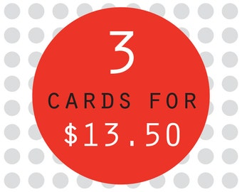 3 card pack - buy 3 greeting cards for savings