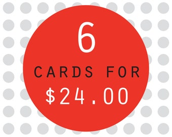 6 card pack - buy 6 greeting cards for savings
