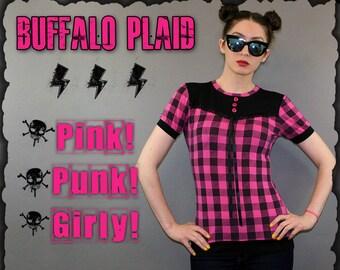 Pink and Black Checker Yoke Blouse Top Punk Goth Shirt