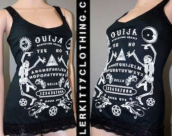 Ouija Board Black Lace Tank Top Shirt Horror Halloween Skeletons Wicca Witch Board Satanic Occult Goth Pentagram
